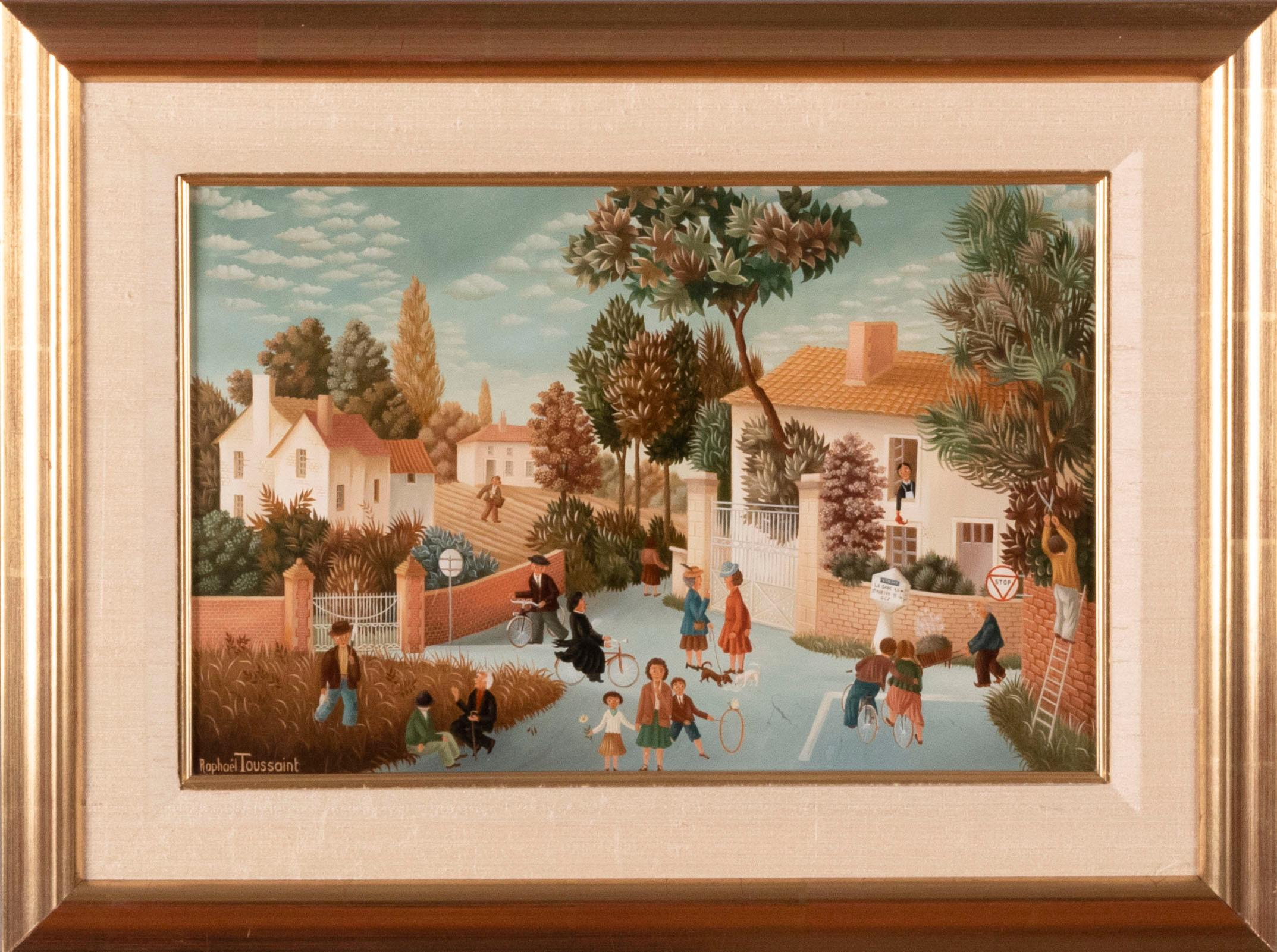 Raphael Toussaint, French (b. 1937), Village Scene with figures Cycling, oil on canvas, 8 x 12 1/2 inches