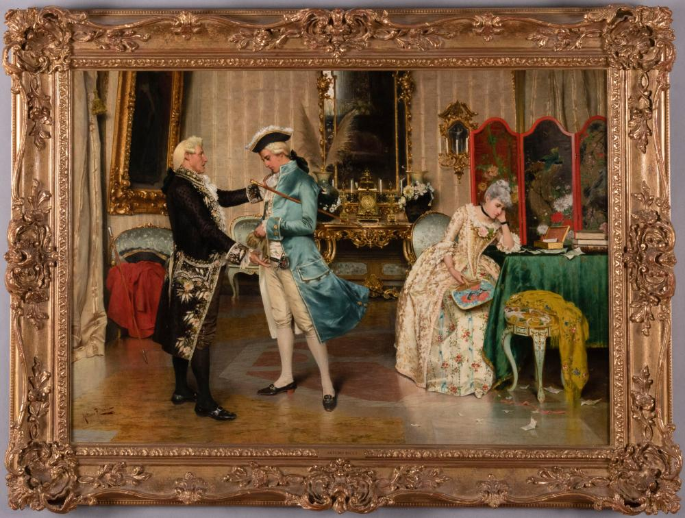 Arturo Ricci, Italian (1854-1919), Asking for her Hand, oil on canvas, 18 1/2 x 26 1/2 inches