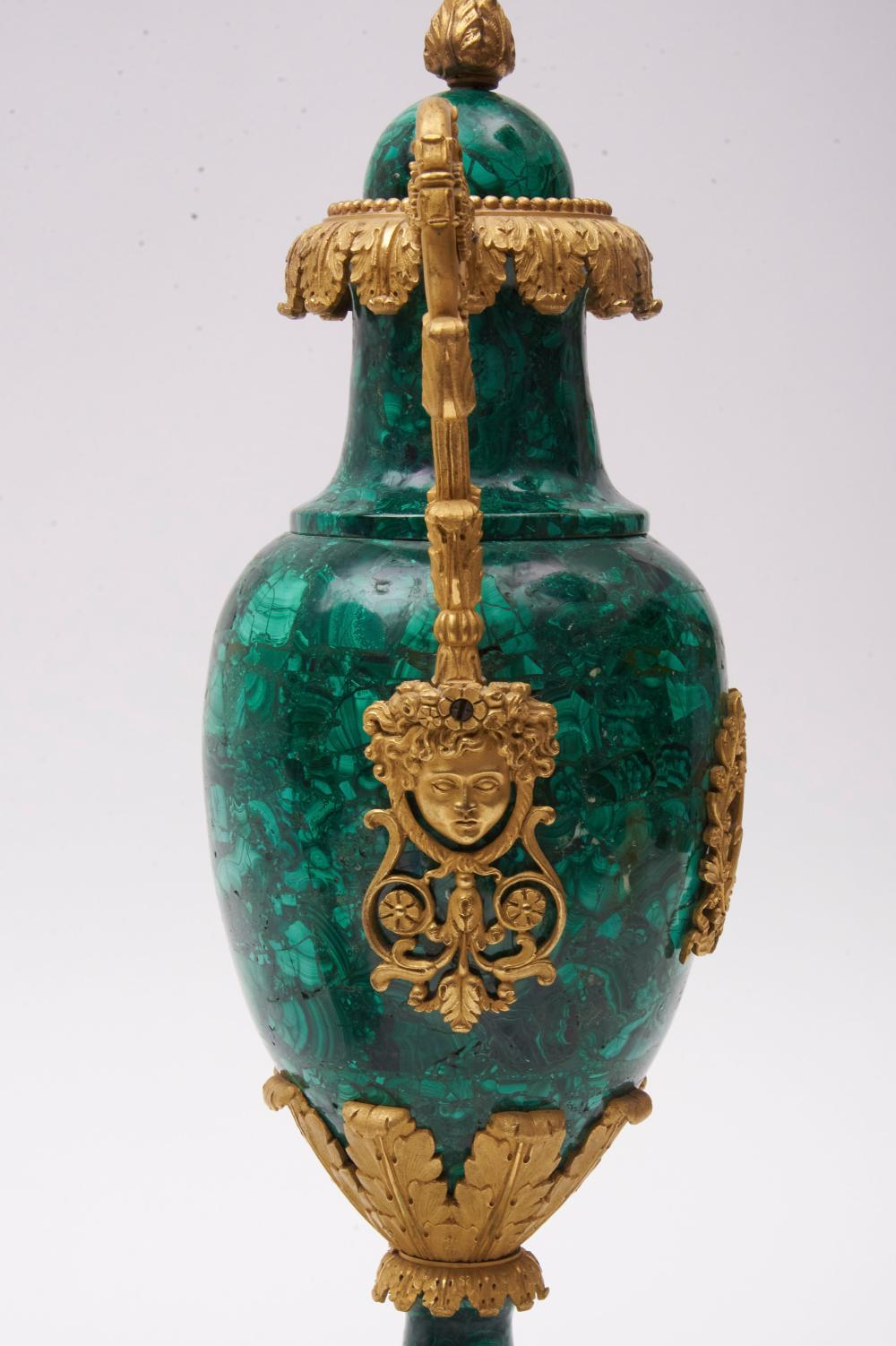 "Pair of Fine 19th Century French Empire Malachite and Bronze Dore' Urns 16"" tall"
