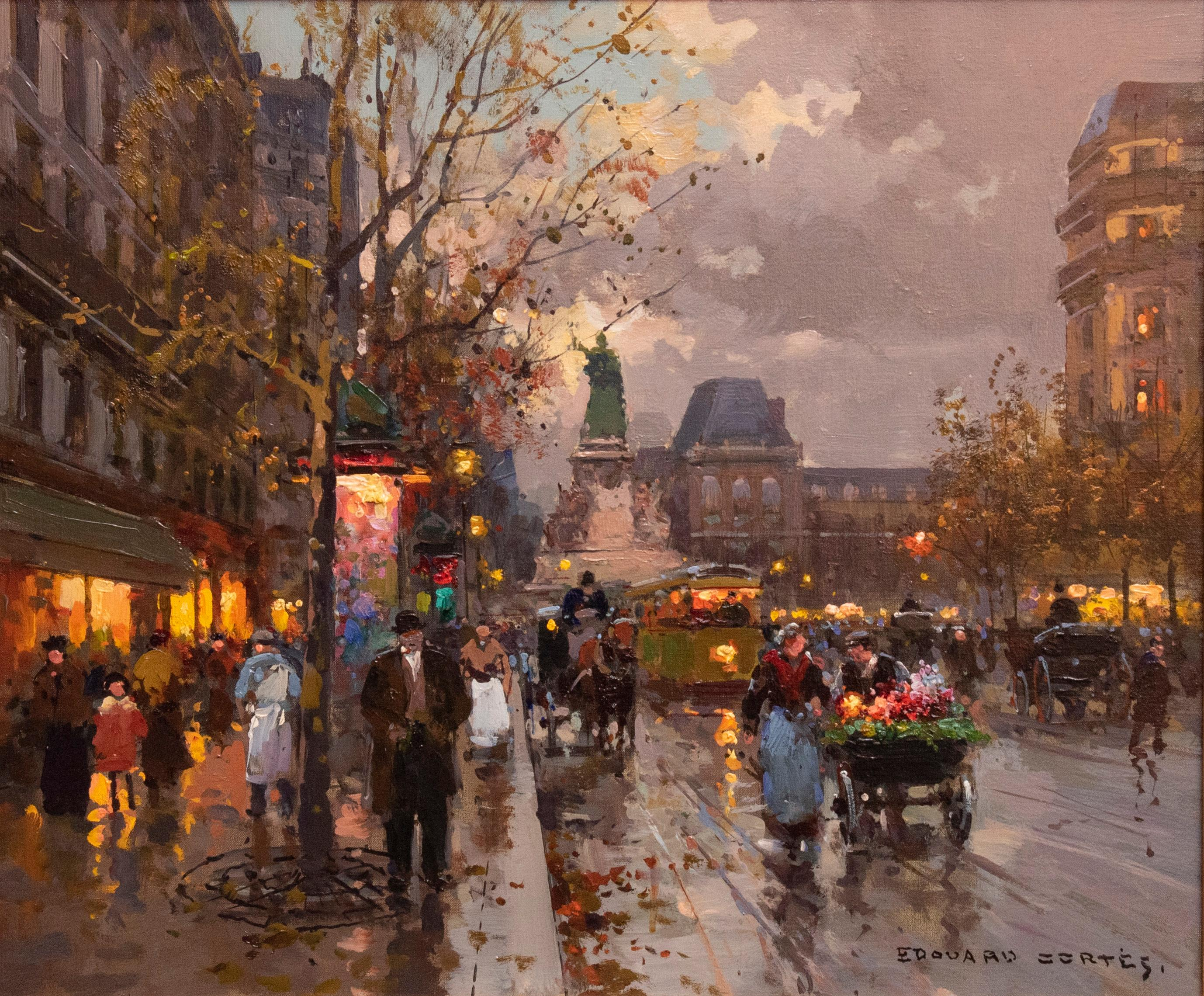 Edouard Leon Cortes, French , Place de la Republique, oil on canvas, 18 x 21 inches