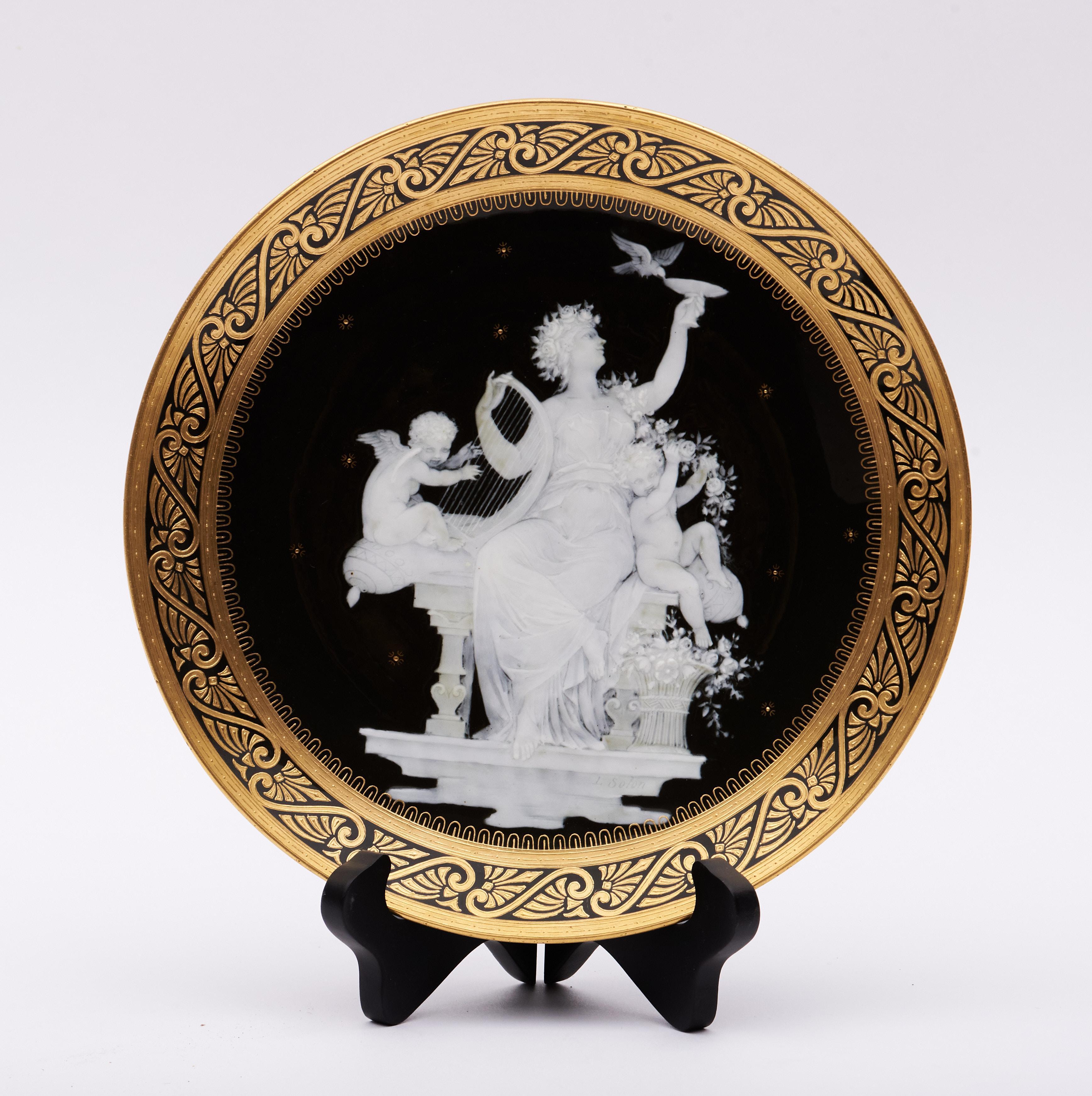 """Mintons, a 19th Century Pate-Sur-Pate Cabinet Plate, signed L. Solon 9.25"""" diameter"""