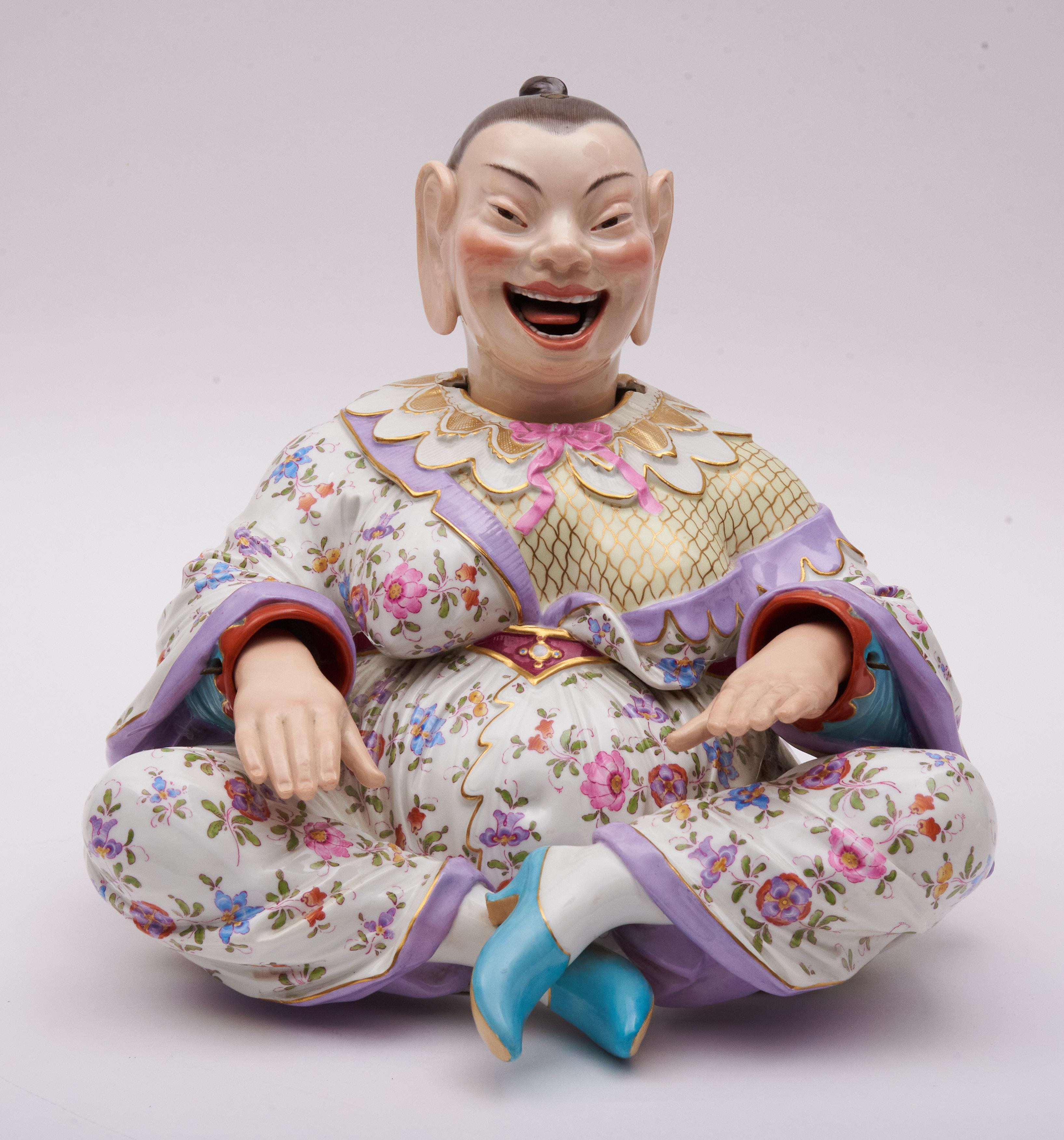 """Meissen, a Large and Magnificent 19th Century Porcelain """"Pagoda"""" Nodding Figure, Blue Cross Sword Mark, Model #2884 13"""" Tall, 13"""" Wide"""