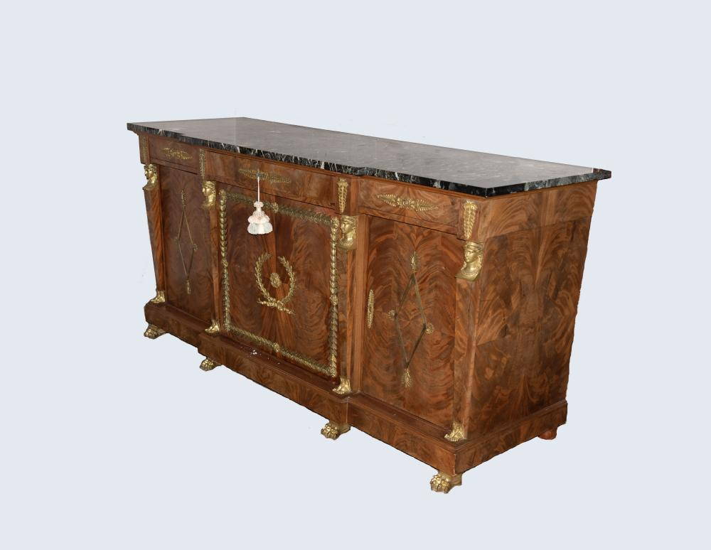 An Impressive French Marble Top Breakfront Buffet, Early 20th Century 42 1/2 x 75 1/2 x 26 1/2 inches
