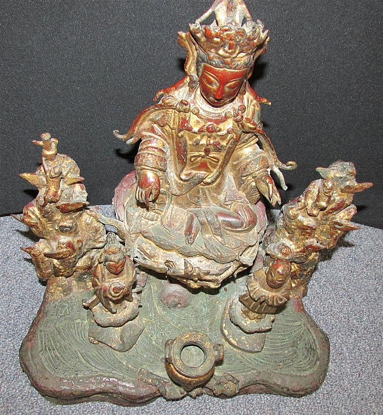 Chinese Ming Bronze Guanyin Figural Group