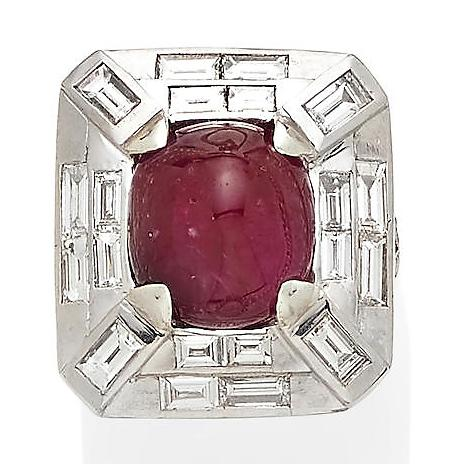 Art Deco Style Diamond, Natural Ruby and 18KT White Gold Ring