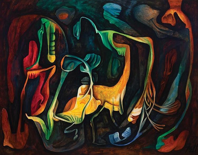 William Fett, American (1918-2006), La Noche, 1977, oil on canvas, 47 3/16 x 60 1/8 inches