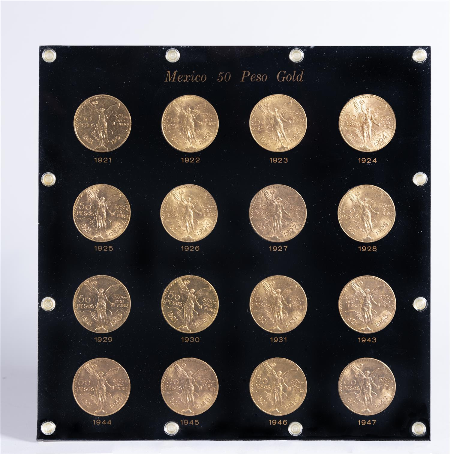 †Mexico 50 Peso Gold Coin Display with 16 Coins
