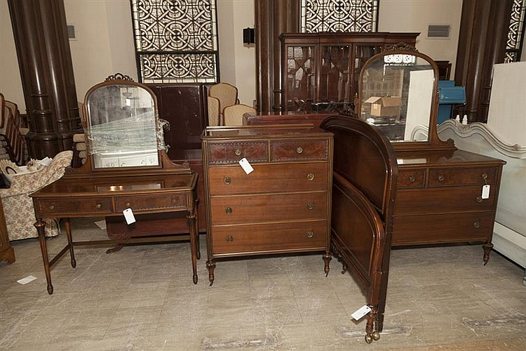 Sold Price Four Piece Lammerts Art Deco Bedroom Set Including Headboard Footboard Dresser Dressing Table And Chest January 5 0115 10 00 Am Cst