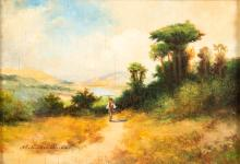 Imre Perlmutter, Hungary (1892-1935), Landscape with man walking on a path, oil on panel, 5 1/4 x 7 1/2 inches
