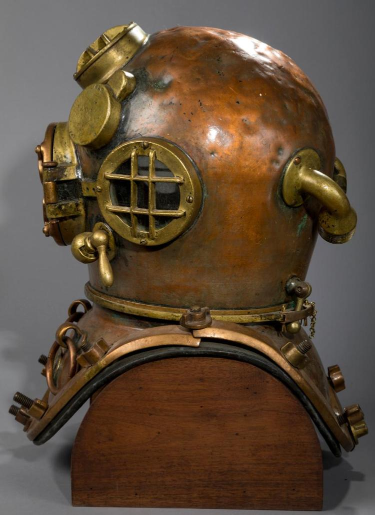 Heavy Copper United States Navy Diving Helmet