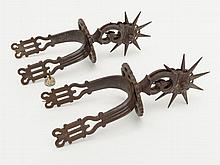 Large pair of fancy early Spanish spurs; approx.