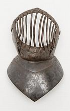 Visor and front half from armor helmet used in