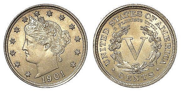 Coins: USA Nickel 5 Cents 1901 UNC
