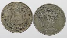 Costa Rica (2) 10 Centavos 1865 GF and 1870 VF-GVF