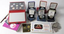 Assortment of mainly GB & World Silver proof / proof boxed items to include GB Fifty pence two coin set 1992/3 (standard and piedfort), Montserrat Silver Proof crown size etc.