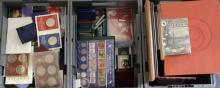 Very large accumilation of mainly World base-metal coins/fantasy pieces/boxed items etc in three stacker boxes. (Very heavy)