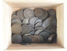 World Copper, over 100 19th Century and older, in a wooden box, mixed grade from circulation.