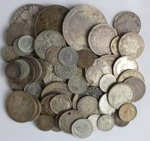 World Silver (55) early to modern, crown-size to minors, mixed grade (the Spain 5 Pesetas ex-mount is a copy)