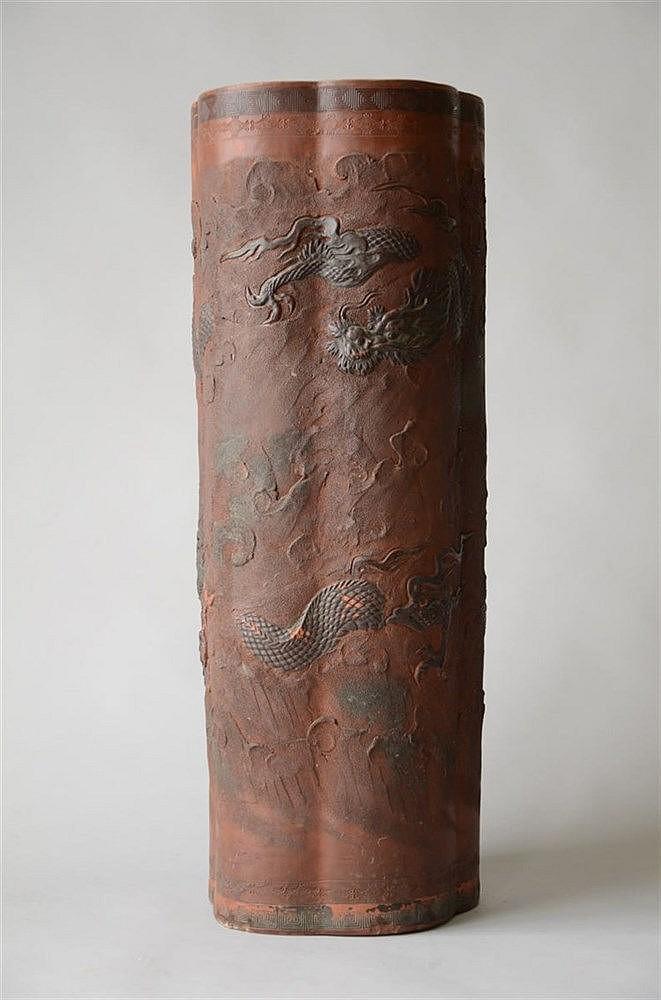 Vase Japonais En Terre Cuite Avec Decor De Dragons 61cm