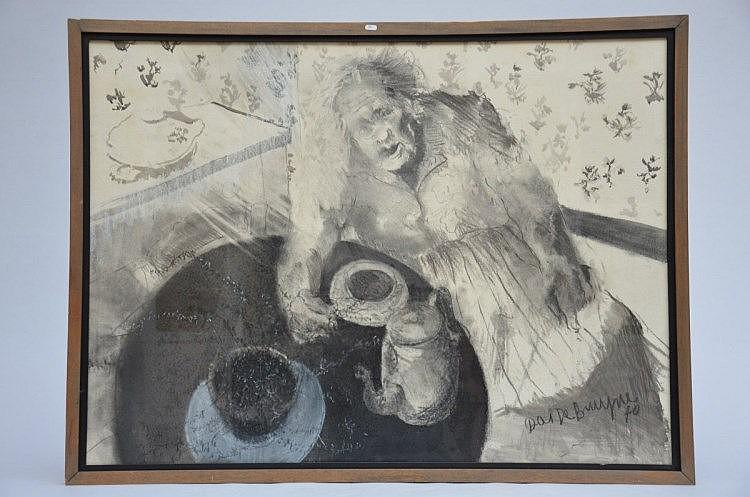 Dees De Bruyne: dessin 'Dame qui boit du café' (73