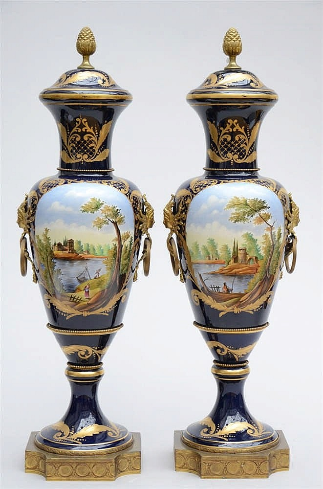 a pair of large porcelain vases s vres style 100cm. Black Bedroom Furniture Sets. Home Design Ideas