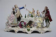 Group in German porcelain 'party scene' * (30x50x30cm)