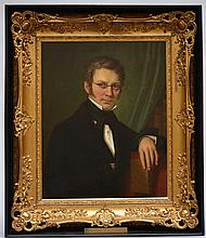 Anonymous, 19th century: painting (o/c) 'portrait of a man with glasses' (6