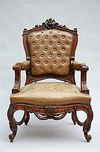 A Louis-Philippe armchair in sculpted mahogany (107cm)