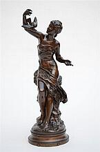 Mathurin Moreau: a bronze sculpture 'Colombe'  (41cm)