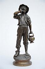 Paul Dubois: bronze sculpture 'le crieur d'eau'  (41cm)