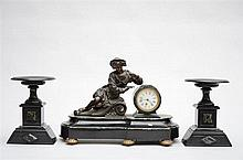 A marble clockset with bronze sculpture * (31cm)