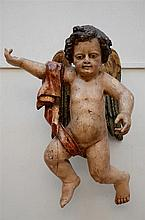 A large polychrome wooden angel (38x50x75cm)