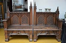 A large gothic revival oak bench * (230x167cm)
