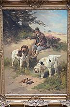 Henri Schouten: painting (o/c) 'hunter with his dogs'  (90x120cm)
