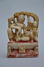 An Indian alabaster hindu sculpture (11x4x15cm)