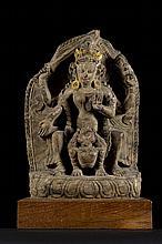 A Nepalese stele in schist, 17th century * (10x32x48cm)