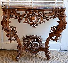 A Louis XV style wall console in oak (47x88x85cm)