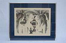 Paul Delvaux: lithography ' la voute ' (86x68cm)