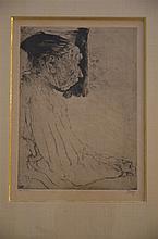 Jules De Bruycker: engraving 'old lady'  (21x29cm)