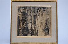 J. De Bruycker: engraving 'Cath_drale de Bourges' (56x52cm)