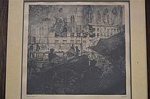Jules Debruycker: engraving 'la cath_drale d'Oudenaarde' (45x43cm)