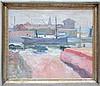 Armand Apol: painting (o/c) 'view of a port' (60x50cm), Armand Adrien Marie Apol, €400