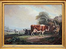 Van Wijck: painting (o/c) 'landscape with cows' (92x65cm)