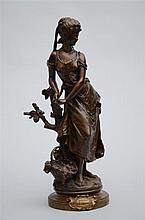 H. Moreau: bronze sculpture 'girl with a basket'  (46cm)