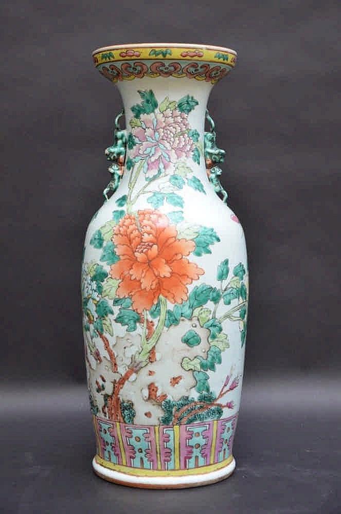 un vase en porcelaine de chine pivoines h60 5