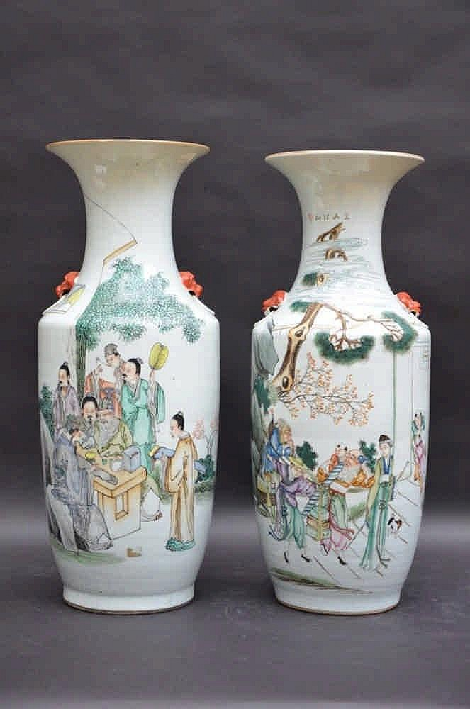 Deux vases en porcelaine de chine 39 sages 39 et 39 vendeurs 39 h59 for Porcelaine de chine