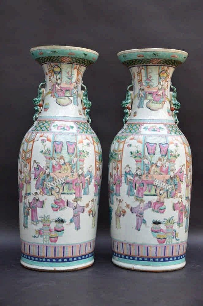 Une paire de vases en porcelaine de chine 39 empereur cheval for Porcelaine de chine