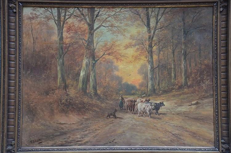 Paul Schouten: h/t 'sous bois avec vaches' (90x120)