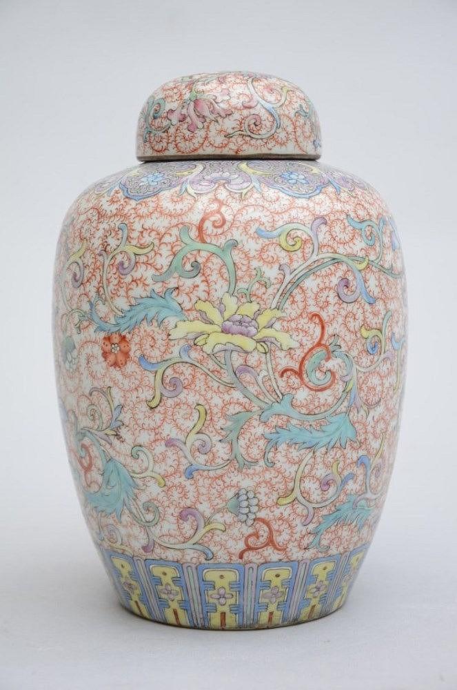 Potiche famille rose en porcelaine de chine 39 fleurs 39 h 26 c for Porcelaine de chine