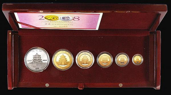 China Panda Gold and Lunar Premium Set 2008 a 6-piece set comprising 500 Yuan Gold, 200 Yuan Gold, 100 Yuan Gold, 50 Yuan Gold, 20 Yuan Gold plus Crown-sized silver medal Year of the Rat with coloured reverse design FDC in the case of issue with